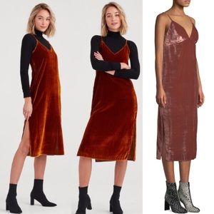 7FAM Velvet Slip Empire Shift Midi Dress Copper